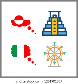 4 attraction icon. Vector illustration attraction set. ferris whell and pyramid icons for attraction works