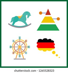 4 attraction icon. Vector illustration attraction set. germany and ferris whell icons for attraction works