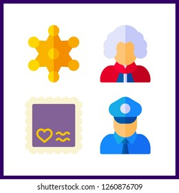 4 authority icon. Vector illustration authority set. stamp and policeman icons for authority works