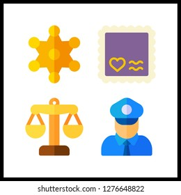 4 authority icon. Vector illustration authority set. justice and policeman icons for authority works