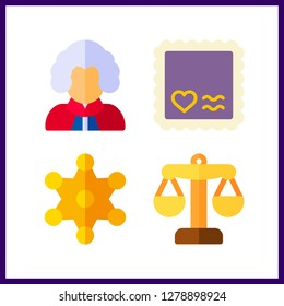 4 authority icon. Vector illustration authority set. justice and judge icons for authority works
