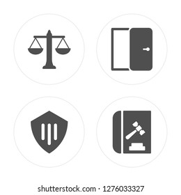 4 Balance, Protection, Right to access, Code of conduct modern icons on round shapes, vector illustration, eps10, trendy icon set.