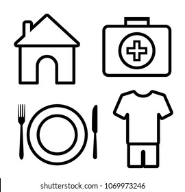 4 basic human needs outline icon, vector illustration