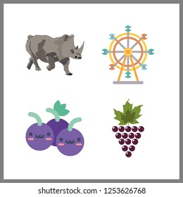 4 big icon. Vector illustration big set. grapes and ferris whell icons for big works