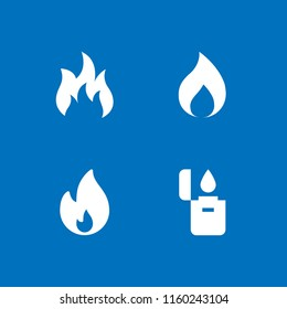 4 burn icons in vector set. fire, lighter and flame illustration for web and graphic design. Flame icon.