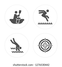 4 Canoe, Water Sport, Long Jump, Target modern icons on round shapes, vector illustration, eps10, trendy icon set.