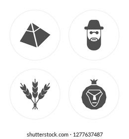 4 Captives to Egypt, Israel Barley, Rabbi, Lion of Judah modern icons on round shapes, vector illustration, eps10, trendy icon set.