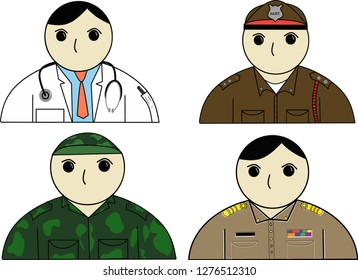 4 The careers of children dream is doctors, police officers, soldiers and civil servants.