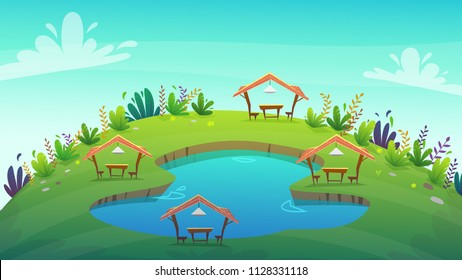 4 cartoon picnic camping at funny style lake or pond water on a green grass field with bushes . tent with table and seats , vector background illustration
