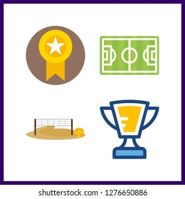 4 champion icon. Vector illustration champion set. voleyball ground and soccer field icons for champion works