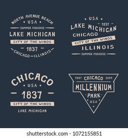 4 CHICAGO BADGE . CHICAGO, LAKE MICHIGAN, MILLENNIUM PARK, ILLINOIS set of badges for printing on t-shirts. The illustration uses a manual font.