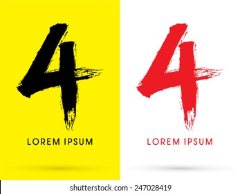4 ,Chinese brush grunge font ,designed using black and red brush handwriting, logo, symbol, icon, graphic, vector.