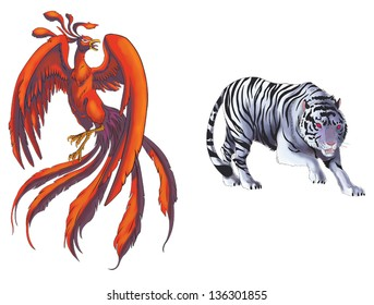 4 Chinese mythical creature gods (Shijin) set 1 - Tiger and Phoenix. Create by vector