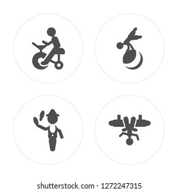 4 Circus stunt man, Ringmaster Acrobat Aerialist man modern icons on round shapes, vector illustration, eps10, trendy icon set.