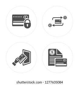 4 Cit card, Tap, Trade, Invoice modern icons on round shapes, vector illustration, eps10, trendy icon set.
