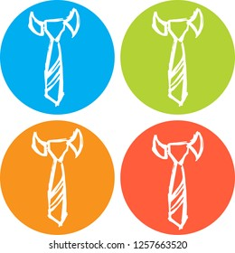 4 Collection Hand Drawn Icon Necktie Fashion Clothing Business Design Vector Illustration. Good for Graphic Design, Logo, Outline, Layout, Template.