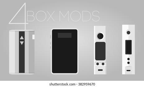 4 colored vaping variwatt varivolt box mods set
