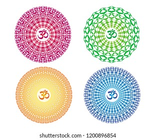 4 colorful mandalas with the sign Aum / Ohm / Om. Spiritual symbol. Openwork circular ornament. Vector drawing.