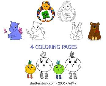 4 pages de coloriage en une seule. Joli dessin vectoriel pour le jeu des enfants. Animaux et créatures amusants pour le livre de coloriage, colorants faciles pour les tout-petits