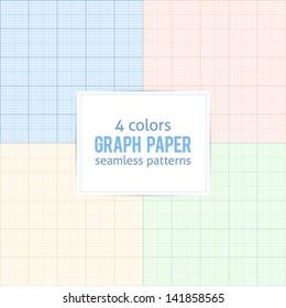 4 colors real size millimeter paper vector patterns set