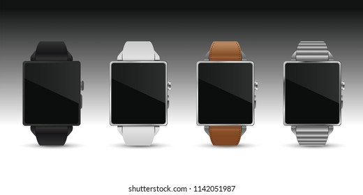 4 colors smartwatchs, black white leather silver, vector illustration image.