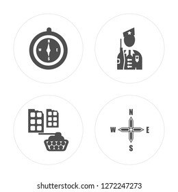 4 Compass, Militar tank in city street, Militar, Cardinal points on winds star modern icons round shapes, vector illustration, eps10, trendy icon set.