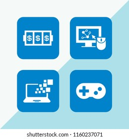 4 controller icons in vector set. slots coincidence, gamepad console and monitor illustration for web and graphic design