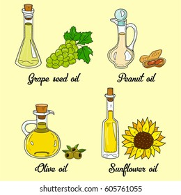 4 cooking oils in cute sketchy bottles. Hand drawn doodle set of edible vegetable food oil. With origin products:  olive, grape seed, peanut and sunflower.