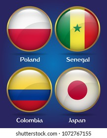 4 Countries Flags Group H for Soccer Championship