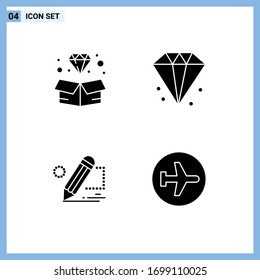 4 Creative Icons Modern Signs and Symbols of diamond; darwing; jewelry; finance; tablet Editable Vector Design Elements