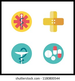 4 cure icon. Vector illustration cure set. pills and band aid icons for cure works