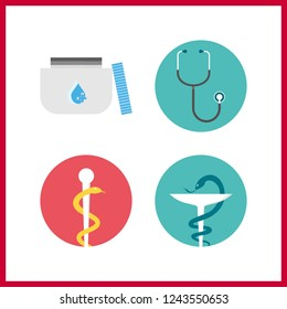 4 cure icon. Vector illustration cure set. stethoscope and pharmacy icons for cure works