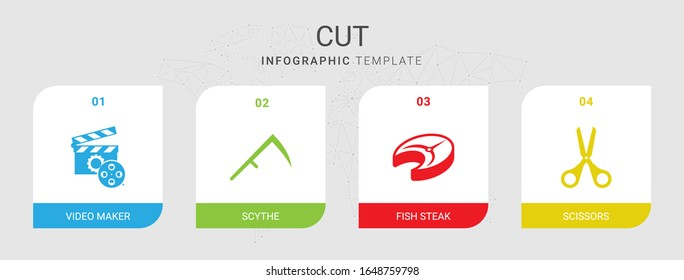 4 cut filled icons set isolated on infographic template. Icons set with Video maker, Scythe, fish steak, Scissors icons.