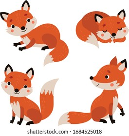 4 cute foxes. Vector illustration