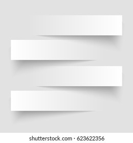 4 cutting banners on the grey background. Vector illustration