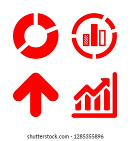 4 diagram icons with ascending graphic and pie chart in this set