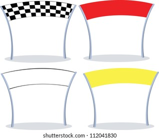 4 different colors of a finish line. 3 with copy space