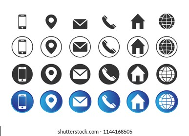 4 different contact information icons in vector