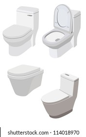 4 different Toilets on white background