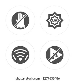 4 Do Not Touch, Wireless, UV Ray Warning, Music modern icons on round shapes, vector illustration, eps10, trendy icon set.