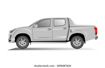 4 door pickup. Graphic design Vector.