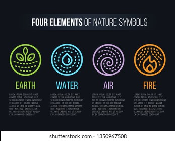 4 elements of nature symbols circle line boder and Dashed line with earth , fire , air and water vector design