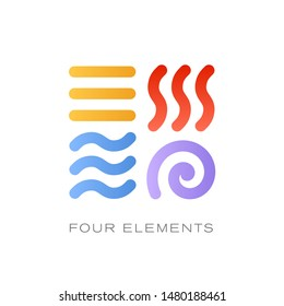4 elements sign vector icons