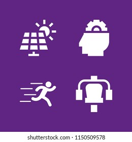 4 energy icons in vector set. station, runer silhouette running fast, mind and solar panel illustration for web and graphic design
