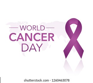 4 February World Cancer Awareness Month Campaign Background with paper Magenta ribbon symbol. Pancreatic Cancer. Vector stock illustration.