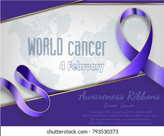 4 February World Cancer Awareness Month Campaign Background with paper Magenta ribbon symbol, World Cancer Awareness vector design