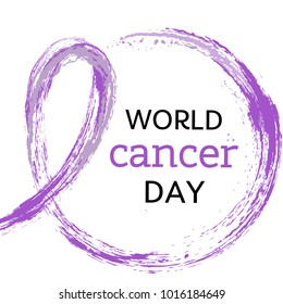 4 of February World Cancer Day vector illustration. Watercolor purple symbol - pink crayon ribbon. Hand drawn ribbon. EPS10. Design template for poster, banner, flayer, web, cards.