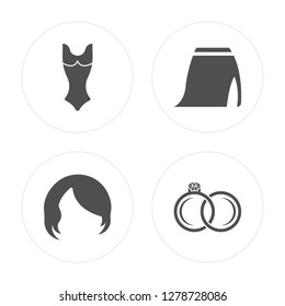 4 Female swimsuit, Hair wig with side, Skirt slit and belt, Engagement ring modern icons on round shapes, vector illustration, eps10, trendy icon set.