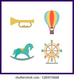 4 festival icon. Vector illustration festival set. ferris whell and trumpet icons for festival works