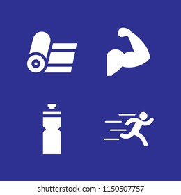 4 fit icons in vector set. yoga, gym and runer silhouette running fast illustration for web and graphic design
